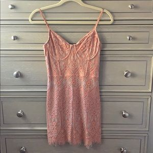Salmon Colored Lace Mini Cocktail Dress